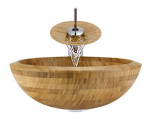 "Aurora B01 Natural Bamboo Vessel Sink with Chrome Faucet & Grid Drain - 16.5"" x 16.5"""