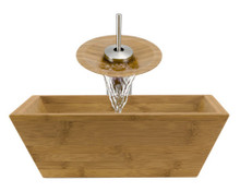 "Aurora B02 Natural Bamboo Vessel Sink with Brushed Nickel Faucet & Grid Drain - 16.13"" x 16.13"""