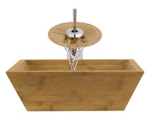 "Aurora B02 Natural Bamboo Vessel Sink with Chrome Faucet & Grid Drain - 16.13"" x 16.13"""