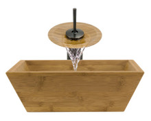 """Aurora B02 Natural Bamboo Vessel Sink with Oil Rubbed Bronze Faucet & Grid Drain - 16.13"""" x 16.13"""""""
