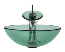 Aurora Sinks G01-Forest-ORB-ENS-VPUD Glass Vessel Sink with Oil Rubbed Bronze Faucet & Pop Up Drain - Emerald