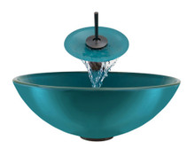"Aurora G01 Turquoise Island Glass Vessel Sink with Oil Rubbed Bronze Faucet & Grid Drain - 16.5"" x 16.5"""
