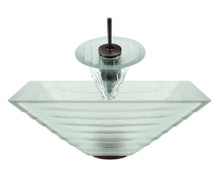 "Aurora G04 Frosted Tundra Glass Vessel Sink with Oil Rubbed Bronze Faucet & Grid Drain - 16.5"" x 16.5"""