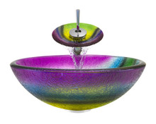 "Aurora A13 Rainbow Frosted Glass Vessel Sink with Chrome Faucet & Grid Drain - 16.5"" x 16.5"""