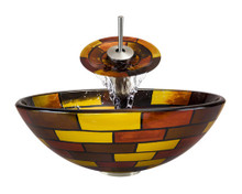 "Aurora A15 Red Yellow Brown Glass Vessel Sink with Brushed Nickel Faucet & Grid Drain - 16.5"" x 16.5"""