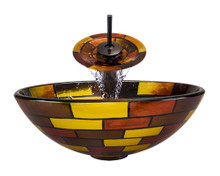 "Aurora A15 Red Yellow Brown Glass Vessel Sink with Oil Rubbed Bronze Faucet & Grid Drain - 16.5"" x 16.5"""