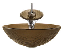 "Aurora A18 Brown Glass Vessel Sink with Brushed Nickel Faucet & Grid Drain - 16.63"" x 16.63"""