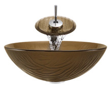 "Aurora A18 Brown Glass Vessel Sink with Chrome Faucet & Grid Drain - 16.63"" x 16.63"""