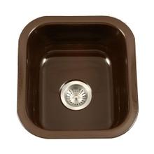 "Houzer PCB-1750 ES 17.32"" x 15.59"" Porcela Undermount Porcelain Enamel Steel Single Bowl Kitchen Sink in Espresso"