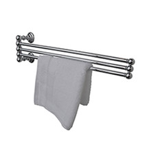 "Valsan Kingston Adjustable 3 Tier 18"" Swivel Arm Towel Rail / Bar - Unlacquered Brass"