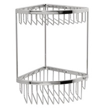 "Valsan Classic Two Tier Wall Mount Corner Soap Basket  6"" X 6"" X 12 1/4"" - Chrome"