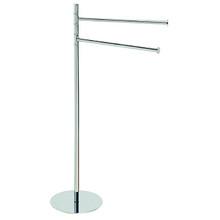 "Valsan Pombo Omnia Freestanding Dual Swivel Arm Towel Bar 36"" H x 20"" W - Satin Nickel"