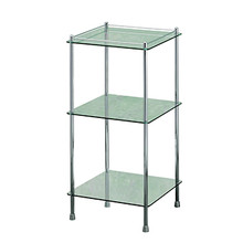 Valsan Essentials Freestanding Three Tier Glass Shelf Unit - Polished Nickel
