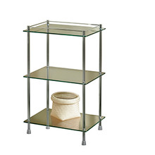 "Valsan Essentials Freestanding Three Tier Glass Shelf Unit with Feet 29 1/2"" X 18 X 11"" - Polished Nickel"