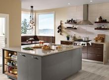 Kraftmaid Kitchen Cabinets - Slab-Veneer (AG7L) High Gloss Foil in Greyloft