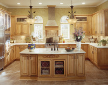 Kraftmaid Kitchen Cabinets - Square Raised Panel - Solid (CRM) Maple in Honey Spice w/Mocha Highlight