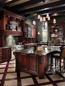 Kraftmaid Kitchen Cabinets - Square Raised Panel - Solid (ALC) Cherry in Kaffe