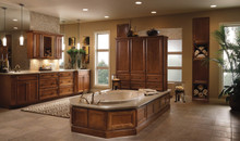 Kraftmaid Kitchen Cabinets - Square Recessed Panel - Veneer (AB5C) Cherry in Sunset