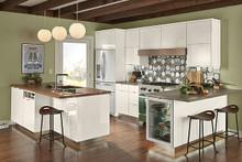 Kraftmaid  Kitchen Cabinets - Slab-Veneer AG7L-2 High Gloss Foil in Dove White