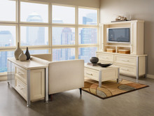 Kraftmaid Family Room Cabinets - Square Recessed Panel - Veneer (SNM) Maple in Biscotti