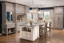 Kraftmaid Kitchen Cabinets - Square Raised Panel - Solid (AA0C) Cherry in Vintage Pebble Grey w/ Coconut Patina