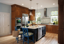 Kraftmaid Kitchen Cabinets -  Square Recessed Panel - Veneer (AC1C) Cherry in Golden Lager