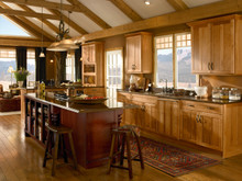 Kraftmaid Kitchen Cabinets -  Square Recessed Panel - Veneer (AC5H) Hickory in Honey Spice