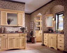 Kraftmaid Master Bathroom Cabinets -  Brookfield in Birch Hazelnut with Mocha Glaze