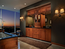 Kraftmaid Kitchen Cabinets -  Square Recessed Panel - Solid (DRHC) Cherry in Honey Spice