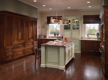 Kraftmaid Kitchen Cabinets -  Square Raised Panel - Solid (MTC) Cherry in Vintage Willow