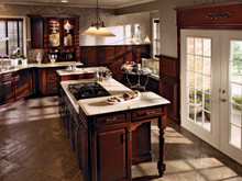 Kraftmaid Kitchen Cabinets -  Square Raised Panel - Solid (MTC) Cherry in Sunset