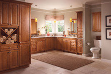 Kraftmaid Kitchen Cabinets -  Square Raised Panel - Solid (PVB) Birch in Cognac