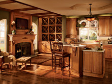 Kraftmaid Kitchen Cabinets -  Arch Raised Panel - Solid (PWC) Cherry in Burnished Ginger
