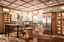 Kraftmaid Kitchen Cabinets -  Square Recessed Panel - Veneer (WI) Maple in Ginger w/Sable Glaze