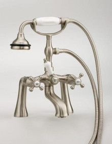 Cheviot  5106-PB Rim Mount Tub Filler Faucet With Hand Shower & Cross Handles  - Polished Brass