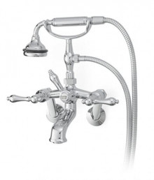 Cheviot  5115-AB-LEV Cross Handle Tub Filler Faucet with Diverter With Hand Shower  - Antique Bronze