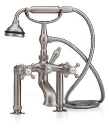 Cheviot  5115-BN Tub Filler Faucet with Diverter & Hand Shower & Cross Handles  - Brushed Nickel