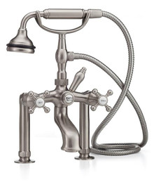 Cheviot  5115/3980-PN Cross Handle Tub Filler Faucet & Handshower With Free Standing Water Supply Lines w Concealed Stop Valves  - Polished Nickel