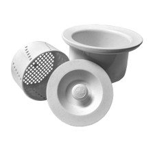 "Opella 90077 Deep 3 1/2"" Basket Strainer with Water Tight Lid - Frost White"