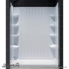 DreamLine  DL-6145L-01 SlimLine 30 in. by 60 in. Single Threshold Shower Base Left Hand Drain and QWALL-3 Shower Backwall Kit