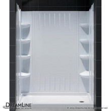 DreamLine  DL-6148R-01 SlimLine 36 in. by 60 in. Single Threshold Shower Base Right Hand Drain and QWALL-3 Shower Backwall Kit