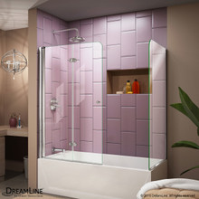 DreamLine  SHDR-3636580-RT-01 Aqua Fold 56 to 60 in. W x 30 in. D x 58 in. H Hinged Tub Door, Chrome Hardware