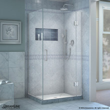 DreamLine  E12734-01 Unidoor-X 33-3/8 in. W x 34 in. D x 72 in. H Hinged Shower Enclosure in Chrome Finish
