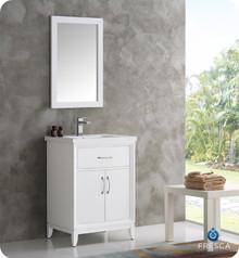"Fresca  FVN2124WH Cambridge 24"" White Traditional Bathroom Vanity w/ Mirror"