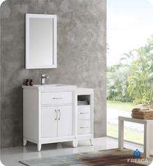 "Fresca  FVN21-2412WH Cambridge 36"" White Traditional Bathroom Vanity w/ Mirror"