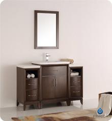 """Fresca  FVN21-122412AC Cambridge 48"""" Antique Coffee Traditional Bathroom Vanity w/ Mirror"""