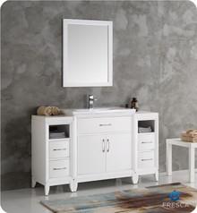 "Fresca  FVN21-123012WH Cambridge 54"" White Traditional Bathroom Vanity w/ Mirror"