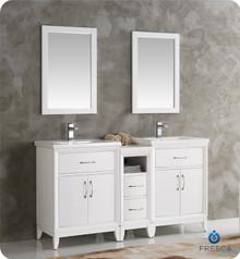 "Fresca  FVN21-241224WH Cambridge 60"" White Double Sink Traditional Bathroom Vanity w/ Mirrors"