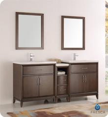 "Fresca  FVN21-301230AC Cambridge 72"" Antique Coffee Double Sink Traditional Bathroom Vanity w/ Mirrors"