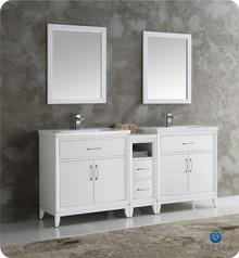 "Fresca  FVN21-301230WH Cambridge 72"" White Double Sink Traditional Bathroom Vanity w/ Mirrors"